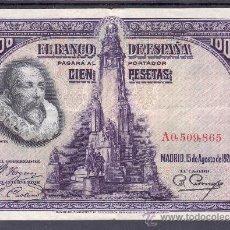 Billetes españoles: .BILLETE ESPAÑA 1928 - 100 PTA CERVANTES SERIE A MBC. Lote 22939697
