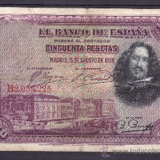 Billetes españoles: .BILLETE ESPAÑA 1928 - 50 PTA VELAZQUEZ SERIE B USADO,. Lote 22939928