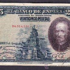 Billetes españoles: .BILLETE ESPAÑA 1928 - 25 PTA CALDERON DE LA BARCA SERIE D BC, . Lote 22939969