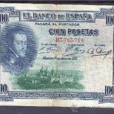 Billetes españoles: .BILLETE ESPAÑA 1925 - 100 PTA FELIPE II SERIE B BC, RESELLO DE LA REPUBLICA . Lote 22940137