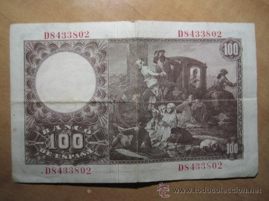 Billetes españoles: BILLETE DE 100 PESETAS AÑO 1948 - Fco BAYEU - Foto 2 - 27380799