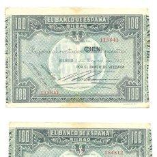 Billetes españoles: 2 BILLETES .. 100 PESETAS DEL BANCO DE ESPAÑA EN BILBAO .. 1 ENERO DE 1937. Lote 23472816