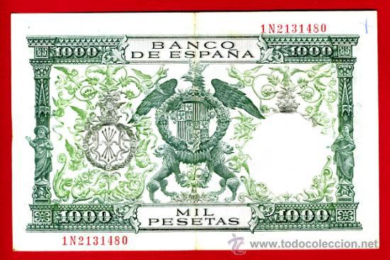 Billetes españoles: BILLETE 1000 PESETAS 1957 REYES CATOLICOS , MBC+ , SERIE 1N , T480 - Foto 2 - 23839470