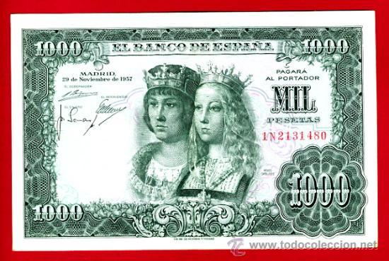 BILLETE 1000 PESETAS 1957 REYES CATOLICOS , MBC+ , SERIE 1N , T480 (Numismática - Notafilia - Billetes Españoles)