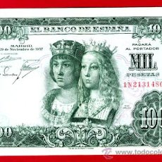 Billetes españoles: BILLETE 1000 PESETAS 1957 REYES CATOLICOS , MBC+ , SERIE 1N , T480. Lote 23839470
