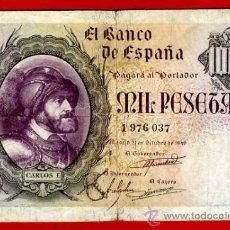 Billetes españoles: BILLETE 1000 PESETAS 1940 OCTUBRE, CARLOS I , MBC , SIN SERIE , T037. Lote 24317873