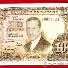 Billetes españoles: BILLETE 100 PESETAS 1953 , MBC , SERIE U , T524. Lote 24407129