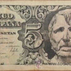 Billetes españoles: BILLETE DE CINCO PESETAS DE 1957. IMPECABLE. Lote 26513067