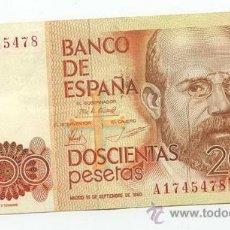 Billetes españoles: 200 PESETAS 1980 MBC. Lote 26893592