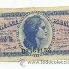 Billetes españoles: 50 CENTIMOS 1937 SERIE B. Lote 26914843