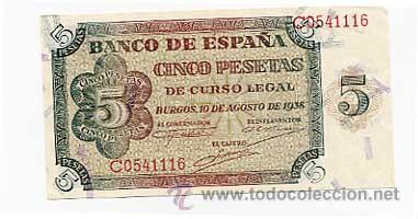 BILLETE CINCO PESETAS BURGOS 10 AGOSTO 1938. SERIE C (Numismática - Notafilia - Billetes Españoles)