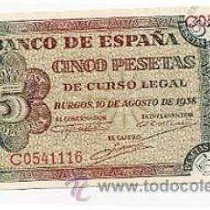 Billetes españoles: BILLETE CINCO PESETAS BURGOS 10 AGOSTO 1938. SERIE C. Lote 25355222