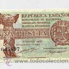 Billetes españoles: BILLETE UNA PESETA. EMISION 1937. REPUBLICA ESPAÑOLA. SERIE A. Lote 25356980