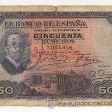 Billetes españoles: BILLETE DE CINCUENTA PESETAS. 1927. CON EL SELLO DE LA REPÚBLICA ESPAÑOLA.. Lote 25922495
