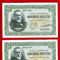 Billetes españoles: PAREJA BILLETES 50 PESETAS ENERO 1940 , EBC , SERIE C , T853-854. Lote 35850335