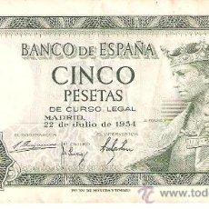 Billetes españoles: BILLETE DE CINCO PESETAS , 22 DE JULIO DE 1954. Lote 26449274