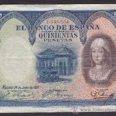 Billetes españoles: 500 PESETAS BILLETE ESPAÑA 1927 SIN SERIE MBC+. Lote 26519986