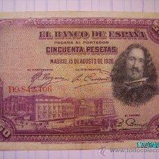 Billetes españoles: BILLETE 50 PESETAS VELAZQUEZ 1928. Lote 26679254