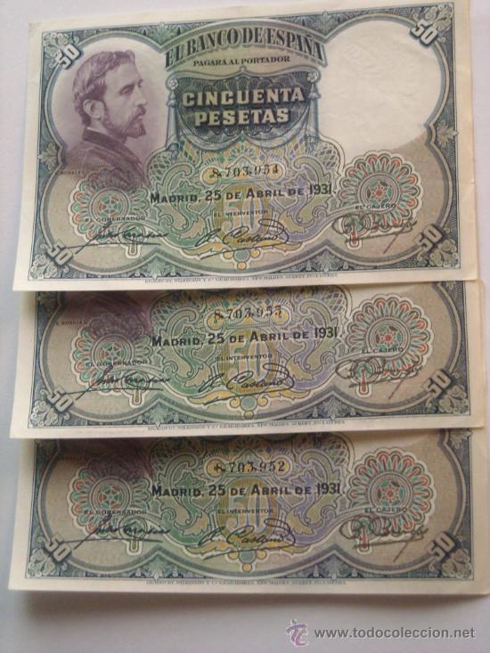 TRIO CORRELATIVO 50 PESETAS 25 ABRIL 1931 E ROSALES EBC SC - (Numismática - Notafilia - Billetes Españoles)