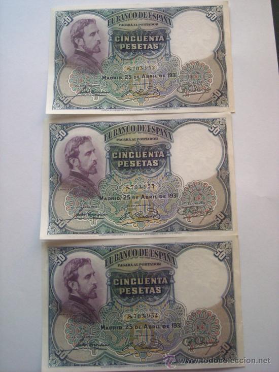 Billetes españoles: Trio correlativo 50 pesetas 25 abril 1931 E Rosales EBC SC - - Foto 5 - 27673585