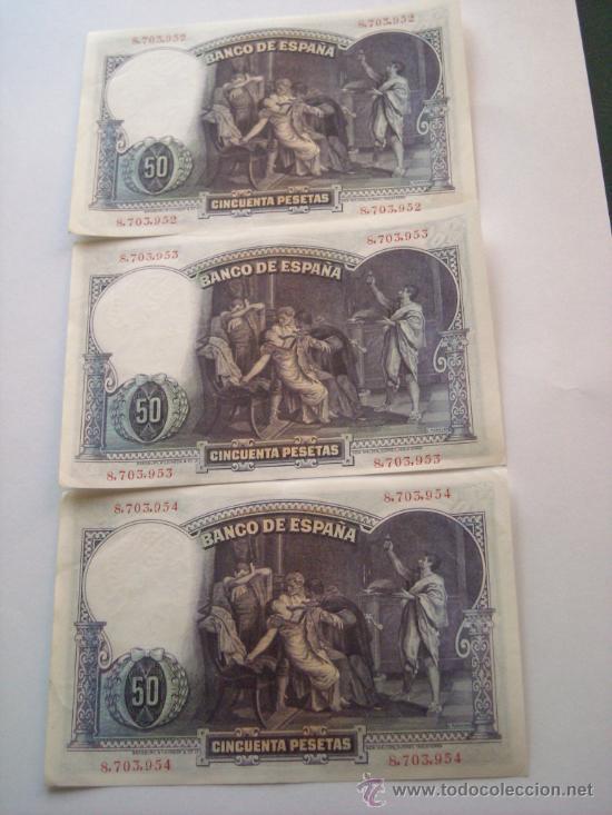 Billetes españoles: Trio correlativo 50 pesetas 25 abril 1931 E Rosales EBC SC - - Foto 4 - 27673585