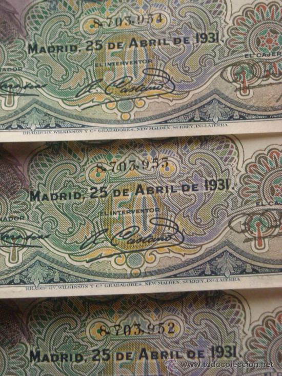 Billetes españoles: Trio correlativo 50 pesetas 25 abril 1931 E Rosales EBC SC - - Foto 2 - 27673585