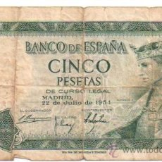 Billetes españoles: 5 PESETAS. 1954. SERIE B.. Lote 27746708