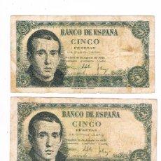 Billetes españoles: 3 BILLETES DE CINCO PESETAS AGOSTO DE 1951. Lote 27821101