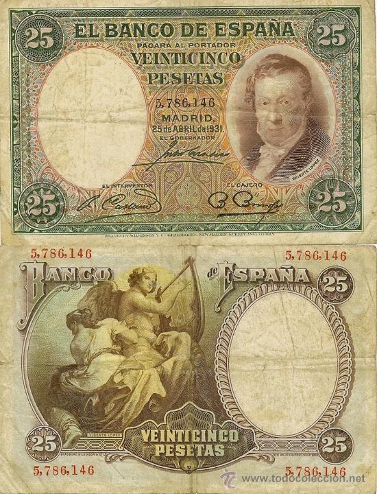 25 PTAS. 25-ABRIL-1931 - SIN SERIE (Numismática - Notafilia - Billetes Españoles)