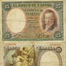 Billetes españoles: 25 PTAS. 25-ABRIL-1931 - SIN SERIE. Lote 27868239