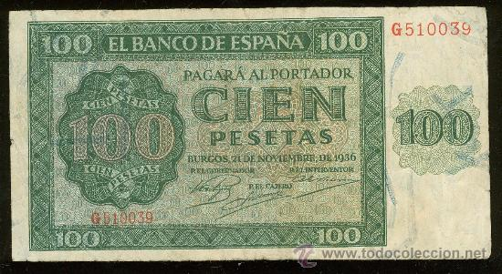 BILLETE DE 100 PESETAS. 1936. SERIE G. MBC. (Numismática - Notafilia - Billetes Españoles)