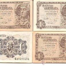 Billetes españoles: CUATRO BILLETES DE 1 PESETAS, 1948, DAMA DE ELCHE. Lote 27944581