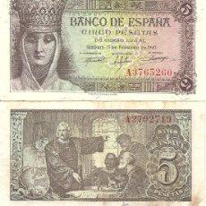 Billetes españoles: DOS BILLETES DE 5 PESETAS, ISABEL LA CATÓLICA 1943. Lote 28247161
