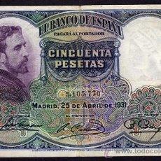 Billetes españoles: BILLETE ESPAÑA - 50 PESETAS - MADRID 25-ABRIL-1931 - ZONA REPUBLICANA - EDUARDO ROSALES. Lote 28296107