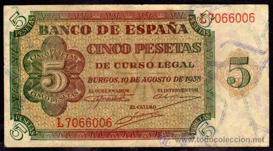 BILLETE ESPAÑA - 5 PESETAS - BURGOS 10-AGOSTO-1938 - SERIE-L (Numismática - Notafilia - Billetes Españoles)