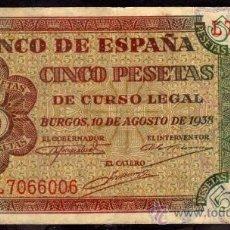 Billetes españoles: BILLETE ESPAÑA - 5 PESETAS - BURGOS 10-AGOSTO-1938 - SERIE-L. Lote 28317885