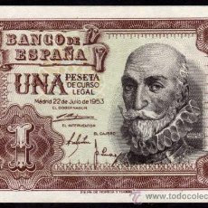 Billetes españoles: BILLETE ESPAÑA - 1 PESETA - MADRID 22-JULIO-1953 - MARQUES DE SANTA CRUZ - SERIE-H. Lote 28318528