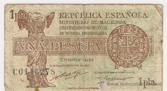 1 PESETA DE 1937 REPÚBLICA SERIE C-278 (MUY RARA) (Numismática - Notafilia - Billetes Españoles)