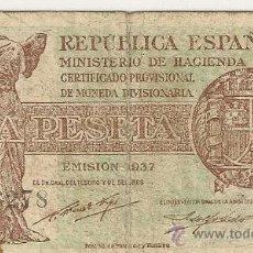 Billetes españoles: 1 PESETA DE 1937 REPÚBLICA SERIE C-278 (MUY RARA). Lote 28569163