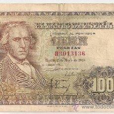 Billetes españoles: 100 PESETAS DE 1948 SERIE H-136 MBC. Lote 28966147