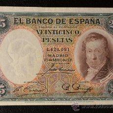 Billetes españoles: 25 PESETAS 25 ABRIL 1931 / VICENTE LOPEZ. Lote 28782220