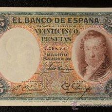 Billetes españoles: 25 PESETAS 25 ABRIL 1931 / VICENTE LOPEZ / EBC+. Lote 28782252