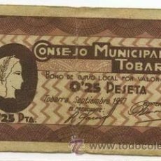 Billetes españoles: BILLETE LOCAL TOBARRA 025 PESETAS - 1937. Lote 28872198