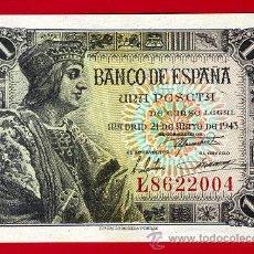 Billetes españoles: BILLETE 1 PESETA 1943 , EBC+ , SERIE E , T004. Lote 28929038