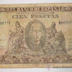 Billetes españoles: 100 PESETAS, 9 ENERO 1940, CRISTOBAL COLON, SERIE - B (CIRCULADO). Lote 29081428