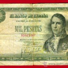Billetes españoles: BILLETE 1000 PESETAS 1949 , MBC- , SIN SERIE , ORIGINAL , T507. Lote 29230379