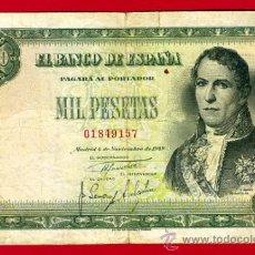 Billetes españoles: BILLETE 1000 PESETAS 1949 , MBC- , SIN SERIE , ORIGINAL , T157. Lote 29230406