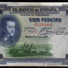 Billetes españoles: BILLETE 100 PESETAS 1925 - FELIPE II - SERIE F. Lote 29508949