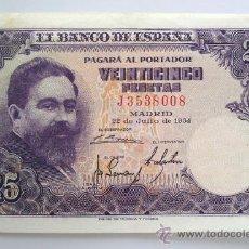 Billetes españoles: BILLETES DEL MUNDO . ESPAÑA . 25 PESETAS . 1954. Lote 29672131
