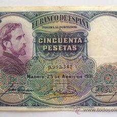 Billetes españoles: BILLETES DEL MUNDO . ESPAÑA . 50 PESETAS . 1931. Lote 29672493